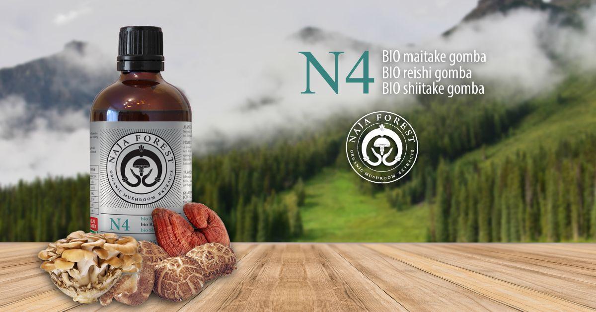 Naja Forest N4 bio Maitake, bio Reishi, bio Shiitake Étrend-kiegészítő