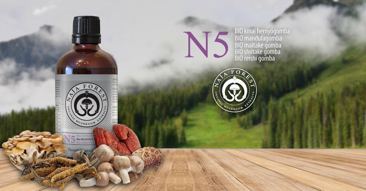 Naja Forest N5 bio Cordyceps, bio Mandula, bio Maitake, bio Shiitake, bio Reishi Étrend-kiegészítő