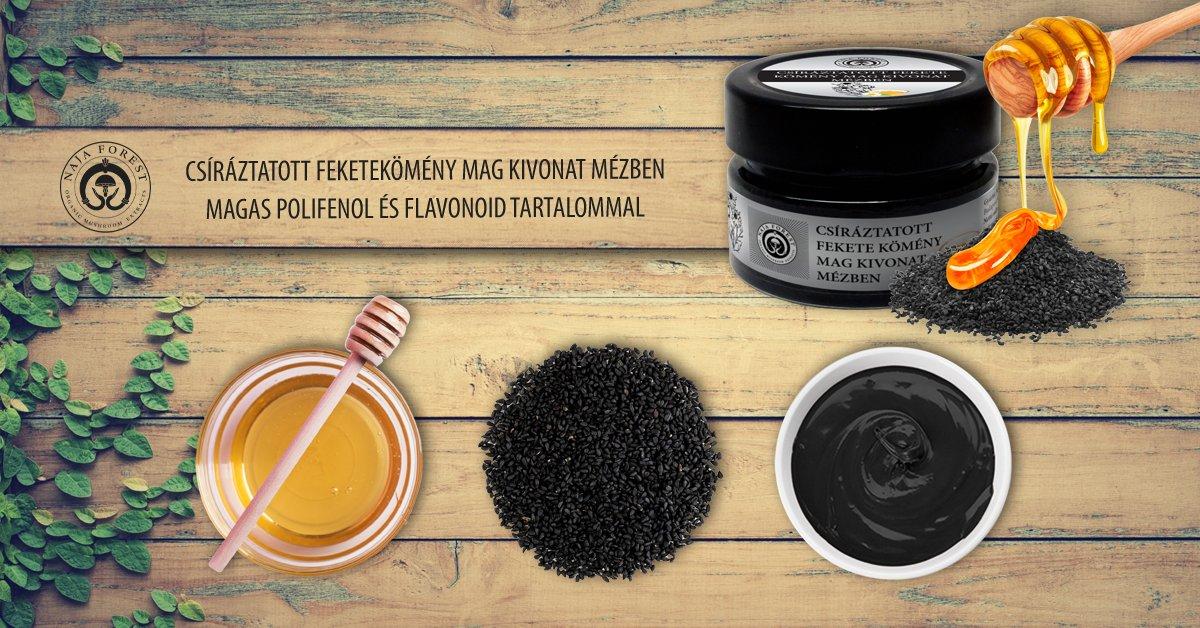 Naja Forest Csíráztatott fekete kömény mag kivonat mézben, magas polifenol és flavonoid tartalommal