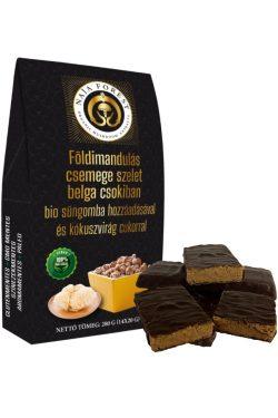 Földimandulás csemege szeletek belga csokiban süngomba hozzáadásával és kókuszvirág cukorral