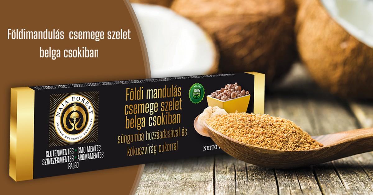 Földimandulás csemege szelet belga csokiban, süngomba hozzáadásával és kókuszvirág cukorral (1 szelet)