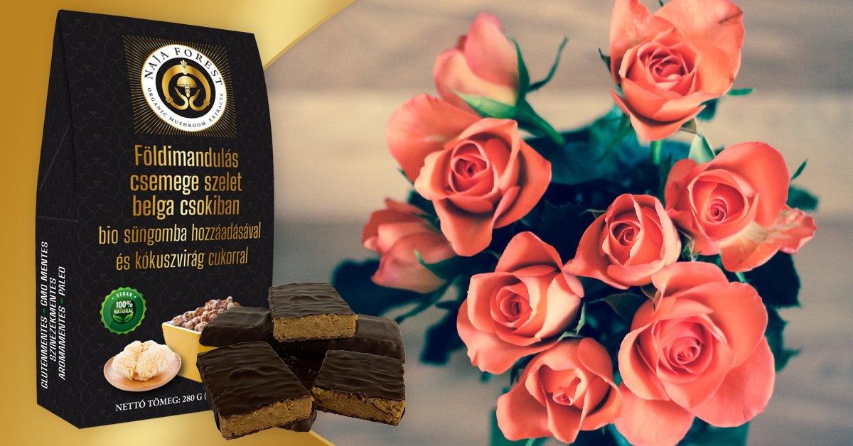 14 db-os földimandulás csemege szeletek belga csokiban süngomba hozzáadásával és kókuszvirág cukorral