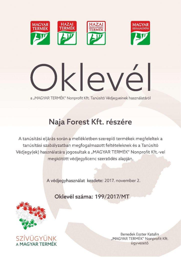 Magyar Termék Oklevél Naja Forest Kft. részére