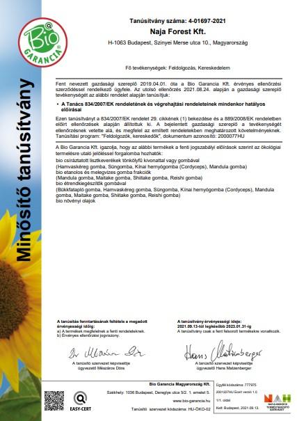 Naja Forest Kft. Bio Garancia Tanúsítvány Magyar