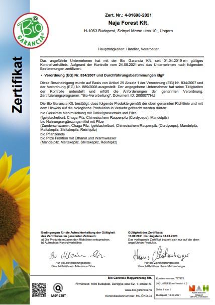 Naja Forest Kft. Bio Garancia Tanúsítvány Német